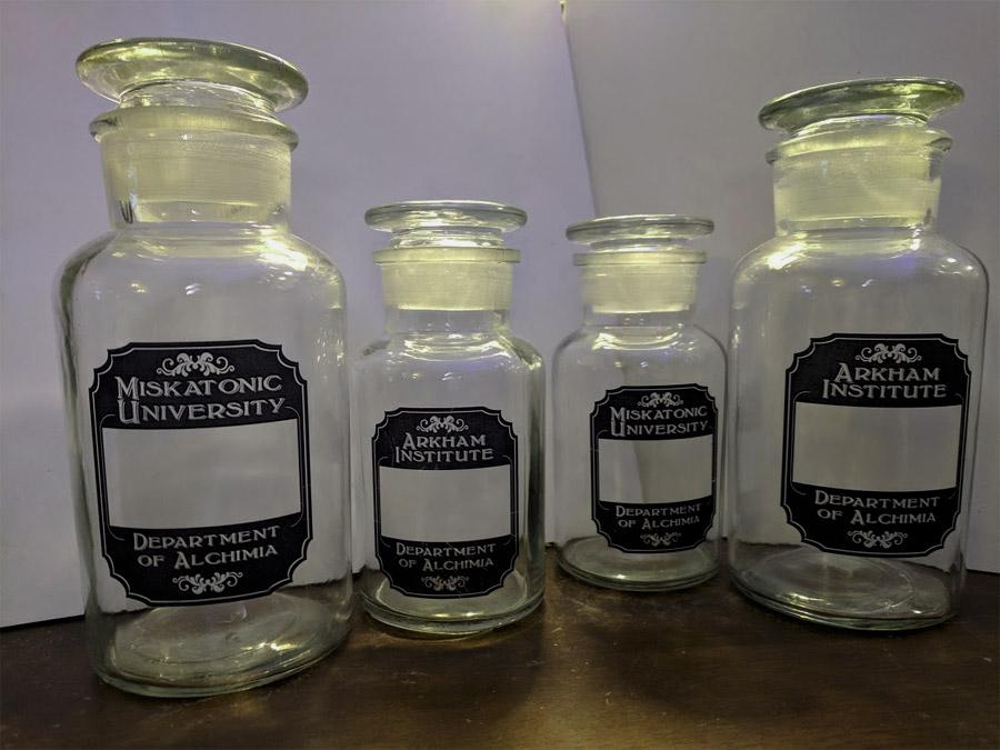 Miskatonic reagent bottles